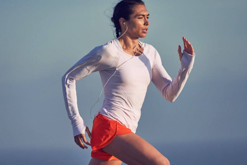 Woman running in athletic clothing