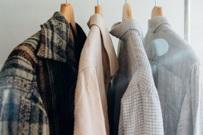 Hanged shirts and jackets