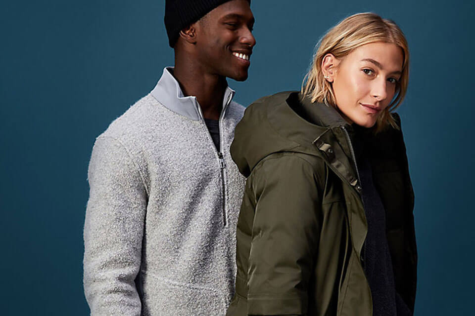 Man and woman in apparel from Lululemon